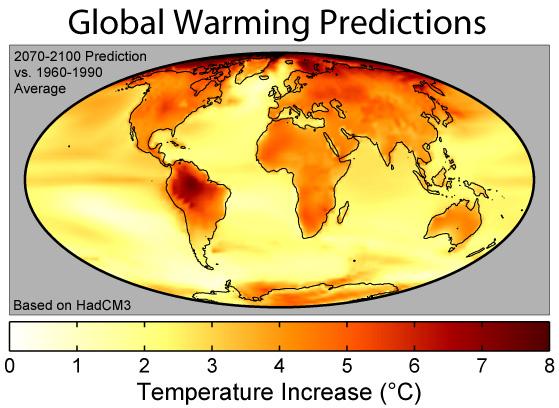 Verwachte opwarming aarde