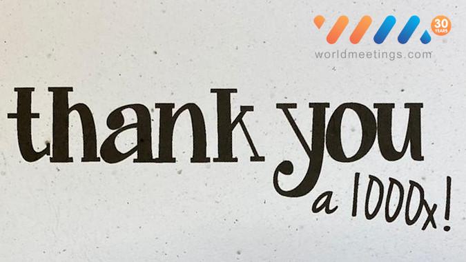 1000 maal dank voor 30 jaar Worldmeetings.com