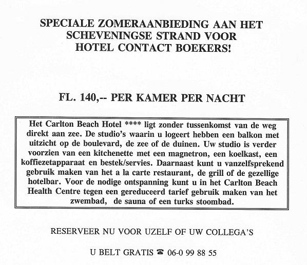 aanbieding Hotel Contact 90er jaren